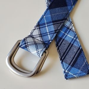 Lands End Blue Plaid Belt, Size Large